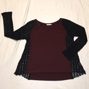 Maroon and black Lush top
